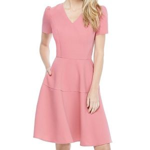 Gal Meets Glam Kate V-Neck Puff Sleeve Dress